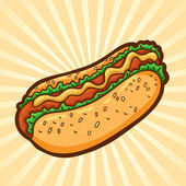Hot dog. Fast food in cartoon style. Isolated object, easy to edit. — Stock Vector