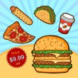 Stock vektor: Set of fast food. Isolated objects in cartoon style. Poster template.