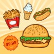 Stock Vector: Set of fast food. Isolated objects in cartoon style. Poster template.