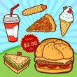 Set of fast food. Isolated objects in cartoon style. Poster template. — Stock Vector #29987209