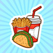 Set of fast food in cartoon style on beauty background. Isolated objects. Poster template. — Stock Vector