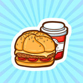 Set of fast food in cartoon style on beauty background. Isolated objects. Poster template. — 图库矢量图片