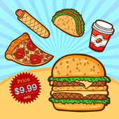 Set of fast food. Isolated objects in cartoon style. Poster template. — ストックベクタ