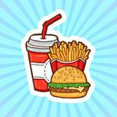 Satz von fast-food im cartoon-stil auf schönheit hintergrund. freigestellte objekte. plakat-vorlage. — Stockvektor