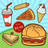 Set of fast food. Isolated objects in cartoon style. Poster template. — Stockvector