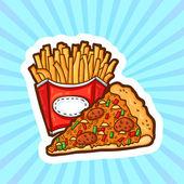 Set di fast food in stile cartoon su sfondo di bellezza. oggetti isolati. modello di poster. — Vettoriale Stock
