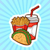 Set of fast food in cartoon style on beauty background. Isolated objects. Poster template. — Stok Vektör