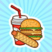 Set of fast food in cartoon style on beauty background. Isolated objects. Poster template. — Stock vektor