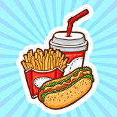 Set of fast food in cartoon style on beauty background. Isolated objects. Poster template. — Wektor stockowy