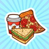 Instellen van fast food in cartoon stijl op schoonheid achtergrond. geïsoleerde objecten. poster sjabloon. — Stockvector