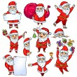 Set of Santa Claus. Cartoon style. Isolated object on white background, easy to edit. Element of design. Christmas. New Year. — Stok Vektör