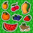 Set of vector icons, fruits stickers.  — Stock Vector