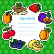 Cartoon fresh fruits card. — Cтоковый вектор