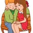 Boy and girl, sit on bench. — Stock Vector