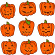Halloween pumpkin set. Set of Vector Halloween Design Elements. Halloween. Vector illustration. — Stock Vector