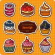 Set of cartoon style cupcakes.  — Stockvektor