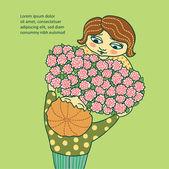 少年少女の花を与える. — ストックベクタ