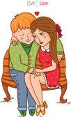 Chlapec a dívka, sedí na lavičce. — Stock vektor