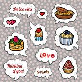 Set of cartoon vector cupcake. — Stock Vector