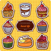 Uppsättning av tecknad stil cupcakes — Stockvektor