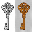 Vintage old key. Engraving retro illustration. Isolated object. — Stock Vector