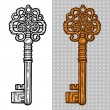 Stock Vector: Vintage old key. Engraving retro illustration. Isolated object.