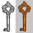 Vintage old key. Engraving retro illustration. Isolated object. — Stock Vector #37407841