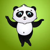 Cute cartoon panda on green background — Stock Vector