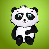 Cute cartoon panda on green background — Stok Vektör