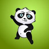 Panda simpatico cartone animato su sfondo verde — Vettoriale Stock