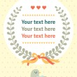 Background with leafs, bird, hearts and place for text. Cute cartoon style. Hand drawing. Vector template. Vintage style. — Stok Vektör