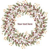 Фон с листьями, цветами и место для текста. милый мультфильм стиль. рука рисунок. Векторный шаблон. винтажный стиль. — Cтоковый вектор