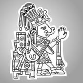 Person. Illustration of the Maya object. Maya design elements. Black and white. — Vecteur