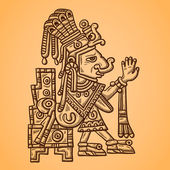 Person. Illustration of the Maya object. Maya design elements. Retro style — Cтоковый вектор