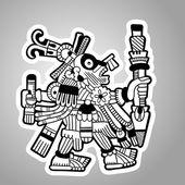 Person. Black and white image of the Maya. Maya designs. Maya design elements. — Vecteur