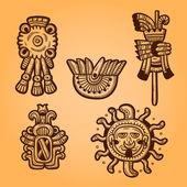 Maya objects. Retro style. Engraving. Maya designs. Maya design elements. — Stock Vector