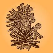Person. Retro illustration of the Maya object. Maya design elements. — Vecteur