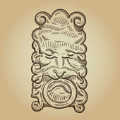 Heraldic retro mask. Vintage decorative element. Isolated object. — Stock Vector