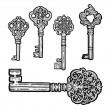 Set of vintage old key. Engraving retro illustration. Isolated object. — Stock Vector