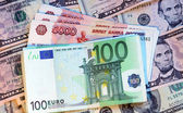 Money of different countries: dollars, euros and modern russian — Stock Photo