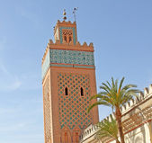 Moulay Al Yazid Mosque and minaret in medina of Marrakesh, Moroc — Stock Photo