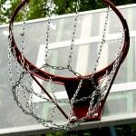 A basketball hoop on the street basketball court — Stock Photo