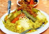 A plate of couscous (traditional moroccan dish) — Stock Photo