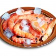 Stock Photo: Fresh red shrimps with ice on plate