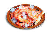 Fresh red shrimps with ice on the plate — Stock Photo