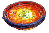 Morocco national dish - tajine of meet with eggs and vegetables — Stock Photo