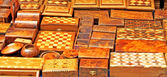 Wooden souvenirs in street market in Morocco — Stock Photo