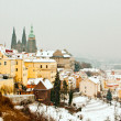 Panorama of Prague in winter - Stock Photo