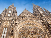 View of St. Vitus Cathedral in Prague Castle, Czech Republic — Stock Photo