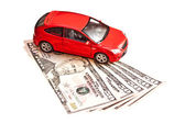 Car and money. Concept for buying, renting, insurance, fuel, ser — Stock Photo